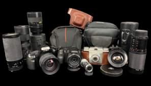 Large Lot Of Vintage Cameras & Lenses