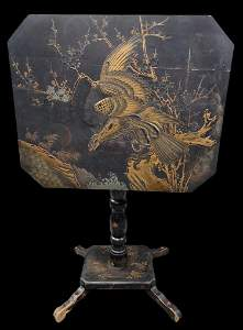 Japanned Chinoiserie Tilt Top Occasional Table