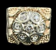 Gents 10 K Gold And Diamond Ring, Size 9.25