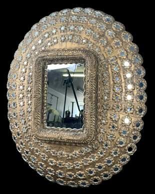 Vintage Indian Carved Wood Peacock Mirror