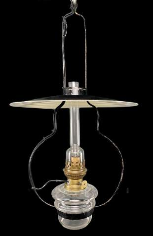 French Gaudard Oil Lamp Style Light Fixture