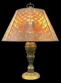 Antique Handel Acid Etched Shade, Table Lamp