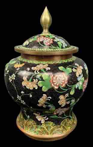 Chinese Black Cloisonne Lidded Jar, Floral