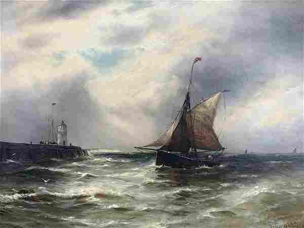 Gustave De Breanski, Oil On Canvas, Marine Scene