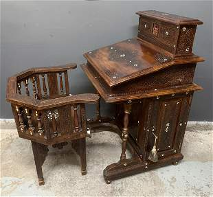 Syrian Abalone Inlaid Writing Desk And Chair
