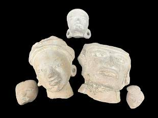 Collection Of 5 Mayan Terracotta Heads, Fragments