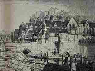 Frederick L. Griggs, Etching, The Quay 1916