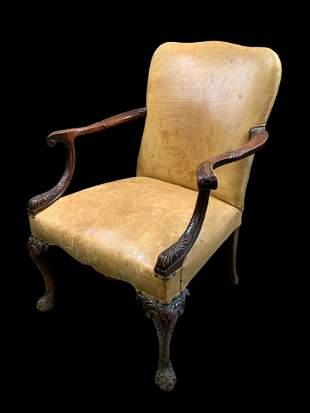 20th C English Leather Gainsborough Chair