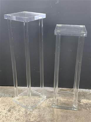 Pair Of Modernist Lucite Pedestal Stands