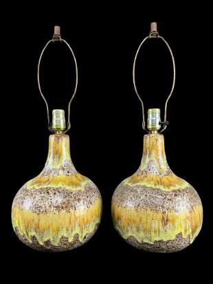 Pair Mid Century Drip Glaze Ceramic Lamps