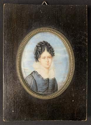 Antique Miniature Portrait Of Lady, Daffinger