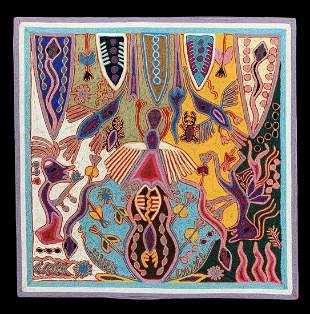 Jose Benitez Sanchez, Huichol Yarn Art, Signed