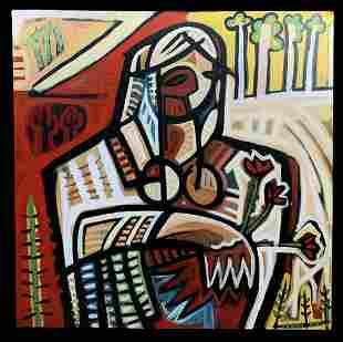Alan Sanchez Oil On Canvas, Our Lady Of Guadaloupe