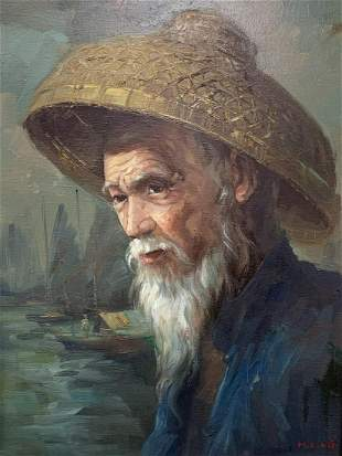 Ping Chuen Chan, Oil On Canvas, Portrait Of Man