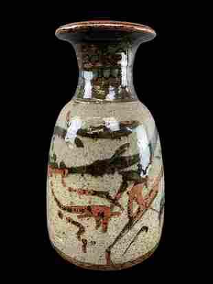 Large Stoneware Studio Pottery Vase Signed R K
