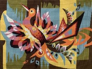 Mid Century Modern Needlepoint Peacock Tapestry