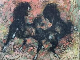 Denes Deholesch (hungarian) Wild Horses Painting