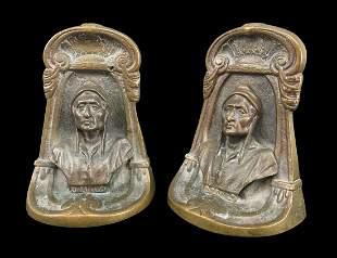 Pair Of Antique Bronze Bookends, Dante
