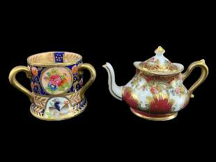 Lot 2 Miniature Crown Staffordshire Teapot And Cup