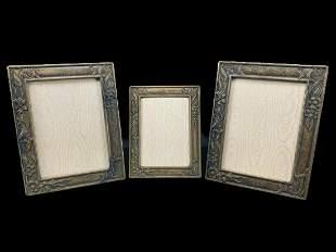 Lot Of 3 Nouveau Style Bronze Picture Frames