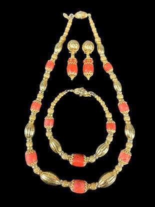 Sun Day Coral And 14k Gold 3 Piece Jewelry Set