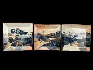 Vintage Landscape Art Pottery Tray Tiles, Stamped