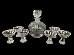 Art Deco Faceted Cut Crystal Decanter Set