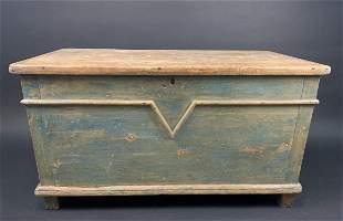 Rare 19th C Quebec Painted Pine V Chest Box