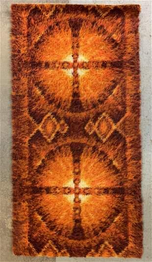 Small Mid Century Modern Orange Shag Rug