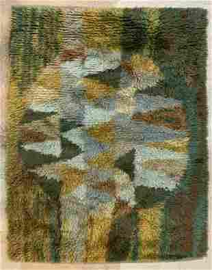 Mid Century Modern Green Shag Rug