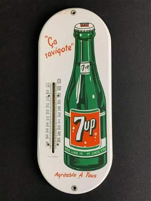 Vintage Enamel Metal 7up Thermometer Sign