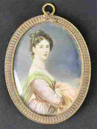 Antique Miniature Signed Painted Portrait Of Lady