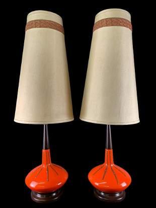 Pair Of Mid Century Orange Ceramic Table Lamps