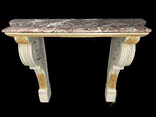Marble Top Oak Gilded Carved Console Table