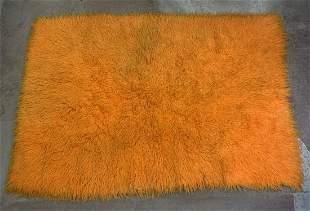 Large Orange Flokati Shag Rug Carpet