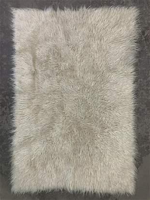 Vintage White Flokati Shag Rug Carpet