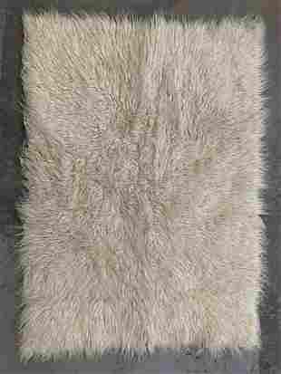 Vintage White Flokati Shag Rug