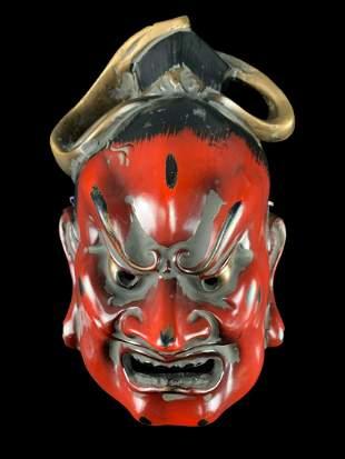 Japanese Noh Wood Buddhist Demon God Mask