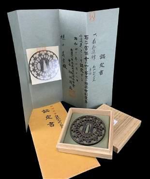Edo Period Japanese Sword Hilt, Tsuba, With Papers