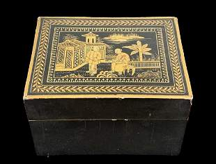 19th C Chinese Gilt Lacquer Lidded Figural Box
