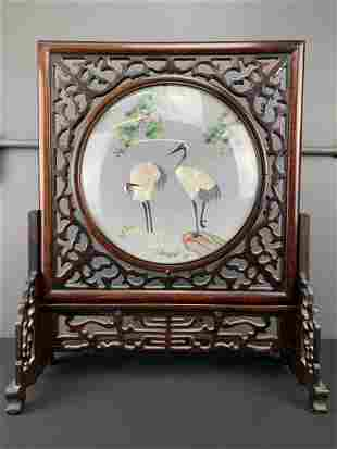 Chinese Silk Embroidered Table Screen