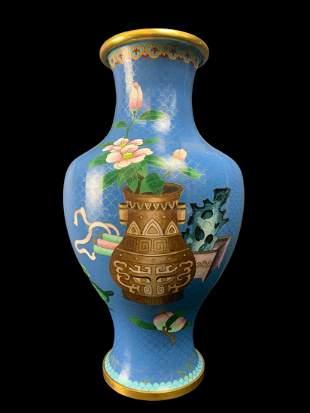 Large Chinese Cloisonne Vase, Antiques Motif