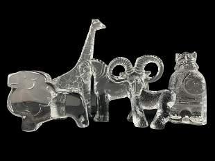 Lot Of 5 Kosta Boda Art Glass Figures, Animals