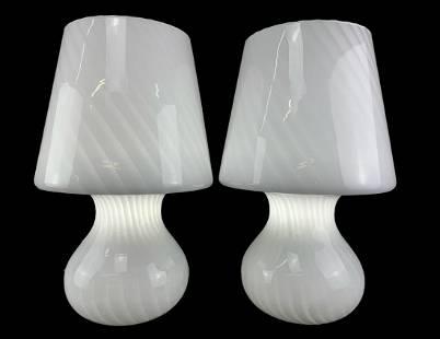 Pair Large Murano Art Glass Mushroom Lamps