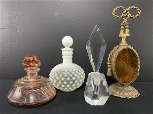 Lot Of Vintage Art Glass Perfume Bottles