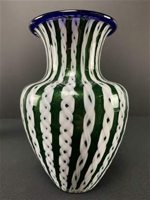 Green Art Glass Pulled Ribbon Vase, Jim Norton