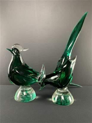 Pair Murano Art Glass Green Cased Glass Birds