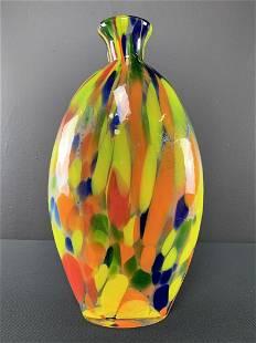 Art Glass Colorful Confetti Vase
