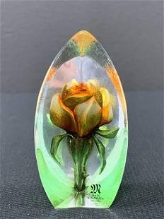 Mats Jonasson Sweden Art Glass Flower Paperweight