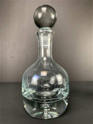 Heavy Modernist Blown Art Glass Decanter, Krosno